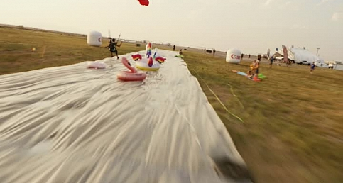 World's Longest Slip and Slide Out of an AIRPLANE!